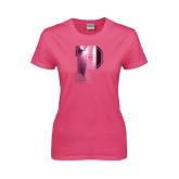 Ladies Fuchsia T Shirt-P Foil