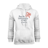 White Fleece Hoodie-Pacific University Oregon w/Boxer