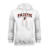 White Fleece Hoodie-Arched Pacific University w/P