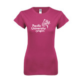 Ladies SoftStyle Junior Fitted Fuchsia Tee-Pacific University Oregon w/Boxer
