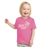 Toddler Fuchsia T Shirt-Pacific University Oregon w/Boxer