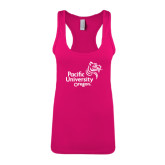 Next Level Ladies Raspberry Ideal Racerback Tank-Pacific University Oregon w/Boxer