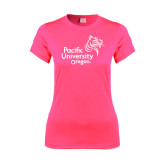 Ladies Performance Hot Pink Tee-Pacific University Oregon w/Boxer