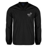 V Neck Black Raglan Windshirt-Pacific University Oregon w/Boxer