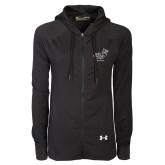 Ladies Under Armour Black Varsity Full Zip Hoodie-Pacific University Oregon w/Boxer