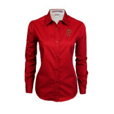 Ladies Red Twill Button Down Long Sleeve-P