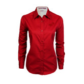 Ladies Red Twill Button Down Long Sleeve-Pacific University Oregon w/Boxer