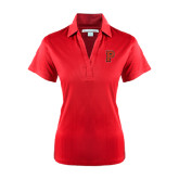 Ladies Red Performance Fine Jacquard Polo-P