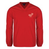V Neck Red Raglan Windshirt-Pacific University Oregon w/Boxer