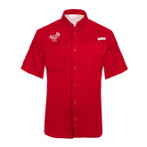 Columbia Tamiami Performance Red Short Sleeve Shirt-Pacific University Oregon w/Boxer