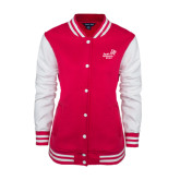 Ladies Pink Raspberry/White Fleece Letterman Jacket-Pacific University Oregon w/Boxer