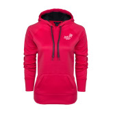 Ladies Pink Raspberry Tech Fleece Hooded Sweatshirt-Pacific University Oregon w/Boxer