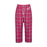 Ladies Dark Fuchsia/White Flannel Pajama Pant-Pacific University Oregon w/Boxer