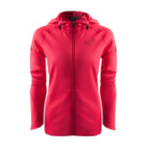 Ladies Tech Fleece Full Zip Hot Pink Hooded Jacket-Pacific University Oregon w/Boxer