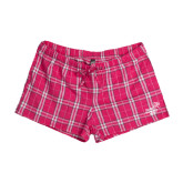 Ladies Dark Fuchsia/White Juniors Flannel Plaid Boxer-Pacific University Oregon w/Boxer