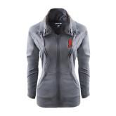 Ladies Sport Wick Stretch Full Zip Charcoal Jacket-P