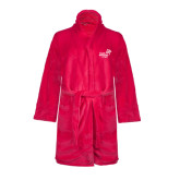 Ladies Pink Raspberry Plush Microfleece Shawl Collar Robe-Pacific University Oregon w/Boxer