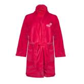 Ladies Pink Raspberry Plush Microfleece Shawl Collar Robe-Pacific University Oregon w/Boxer