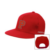 Red Flat Bill Snapback Hat-P