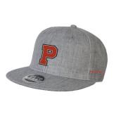 Heather Grey Wool Blend Flat Bill Snapback Hat-P