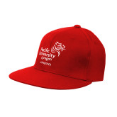 Red OttoFlex Flat Bill Pro Style Hat-Pacific University Oregon w/Boxer