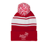 Red/White Two Tone Knit Pom Beanie with Cuff-Pacific University Oregon w/Boxer