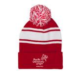 Red/White Two Tone Knit Pom Beanie w/Cuff-Pacific University Oregon w/Boxer