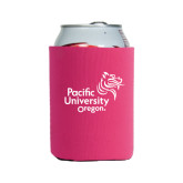 Collapsible Hot Pink Can Holder-Pacific University Oregon w/Boxer