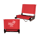 Stadium Chair Red-Pacific University Oregon w/Boxer