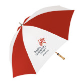 62 Inch Red/White Vented Umbrella-Pacific University Oregon w/Boxer