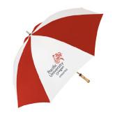 62 Inch Red/White Umbrella-Pacific University Oregon w/Boxer