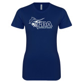 Next Level Ladies SoftStyle Junior Fitted Navy Tee-Primary Mark