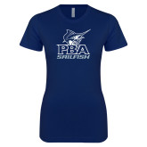 Next Level Ladies SoftStyle Junior Fitted Navy Tee-PBA Sailfish Stacked