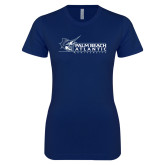 Next Level Ladies SoftStyle Junior Fitted Navy Tee-Palm Beach Atlantic University