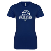 Next Level Ladies SoftStyle Junior Fitted Navy Tee-Volleyball Ball Design