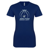 Next Level Ladies SoftStyle Junior Fitted Navy Tee-Basketball Ball Design