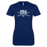 Next Level Ladies SoftStyle Junior Fitted Navy Tee-Baseball Crossed Bats Design