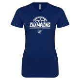 Next Level Ladies SoftStyle Junior Fitted Navy Tee-2017 Mens Soccer Champions