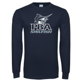 Navy Long Sleeve T Shirt-PBA Sailfish Stacked