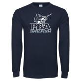 Navy Long Sleeve T Shirt-PBA Sailfish Stacked