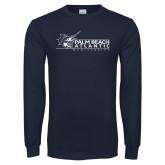 Navy Long Sleeve T Shirt-Palm Beach Atlantic University