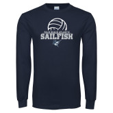 Navy Long Sleeve T Shirt-Volleyball Ball Design
