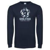 Navy Long Sleeve T Shirt-Soccer Ball Design