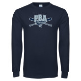 Navy Long Sleeve T Shirt-Baseball Crossed Bats Design
