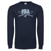 Navy Long Sleeve T Shirt-Baseball Crossed Bats Design
