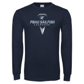 Navy Long Sleeve T Shirt-Geometric Lacrosse Design