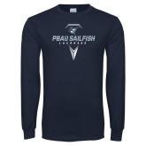Navy Long Sleeve T Shirt-Geometric Lacrosse Design