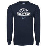 Navy Long Sleeve T Shirt-2017 Mens Soccer Champions