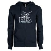 ENZA Ladies Navy Fleece Full Zip Hoodie-PBA Sailfish Stacked
