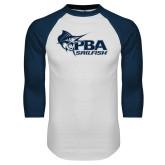 White/Navy Raglan Baseball T-Shirt-Primary Mark